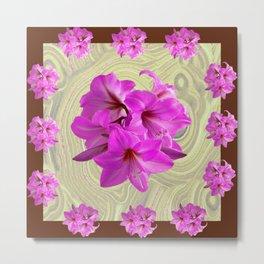 PINK AMARYLLIS FLOWERS MODERN ART Metal Print