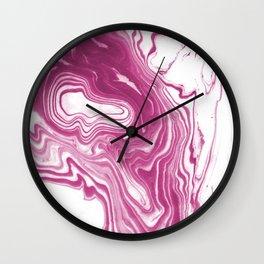 Mogi - spilled ink japanese printmaking watercolor marble pink sea ocean waves swirl flow painting Wall Clock