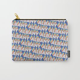 Albany, New York Trendy Rainbow Text Pattern (Blue) Carry-All Pouch