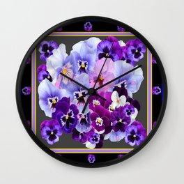 MODERN ART PURPLE PANSY COLLECTION Wall Clock
