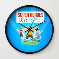 super heroes Wall Clocks featuring Super Heroes Love People by youngmindz