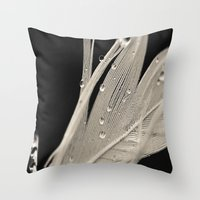 feather Throw Pillows featuring Feather by Dora Birgis