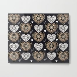 Rose-Gold, Silver, and Black Mandala Hearts with Love Metal Print
