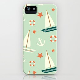 cute colorful sailboat pattern with anchor and lifebuoy iPhone Case