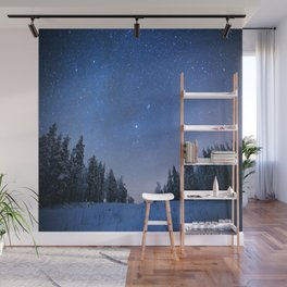 Blue Night Stars Wintry Forest Wall Mural
