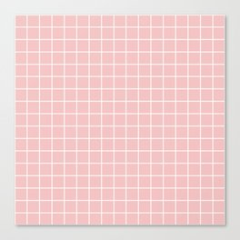 Baby pink - pink color - White Lines Grid Pattern Canvas Print