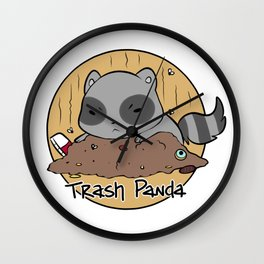 Trash Panda in a Trash Pile Wall Clock