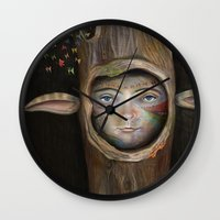 tree of life Wall Clocks featuring Tree Life by Fizzyjinks
