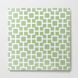 Classic Hollywood Regency Pattern 221 Sage Green Metal Print