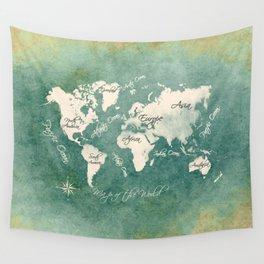 world map 151 green white #worldmap #map Wall Tapestry