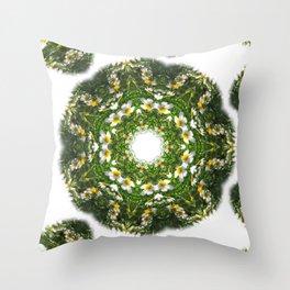 Little White Wildflower Kaleidoscope Art 1 Throw Pillow