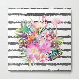 Tropical floral leaves and flamingos stripes Metal Print