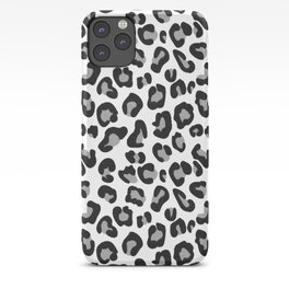 Leopard Print in Black and White with Gray / Grey iPhone Case