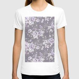 VINTAGE FLORAL MAUVE ROSES PATTERN DARK T-shirt