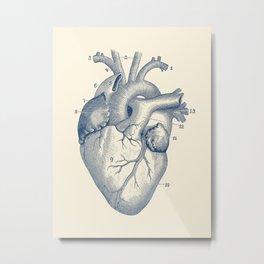 Human Heart Diagram - Vintage Anatomy Poster Metal Print