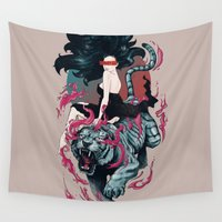 beauty and the beast Wall Tapestries featuring Beauty and the Beast by Artemple