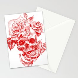 Roses and Human Skull - Red Stationery Cards