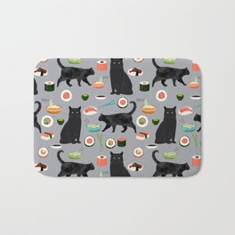 black cat sushi cat lover pet gifts cute cats Bath Mat