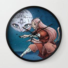 Mooncat Warrior Wall Clock
