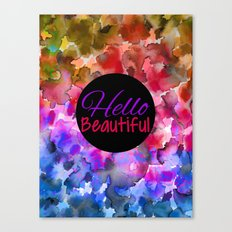 HELLO BEAUTIFUL Colorful Art Typography Inspirational Abstract Watercolor Painting Ombre Rainbow Canvas Print