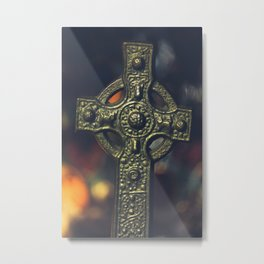 Celtic Cross with Stained Glass bg Metal Print