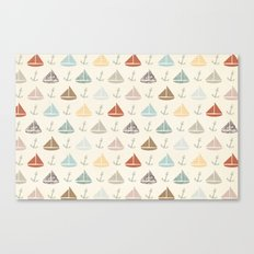 boats and anchors pattern Canvas Print