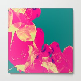 Abstract Roses on Aqua Background Metal Print