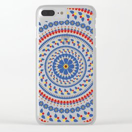 Floral Mandala Blue and Red colour Palette Clear iPhone Case