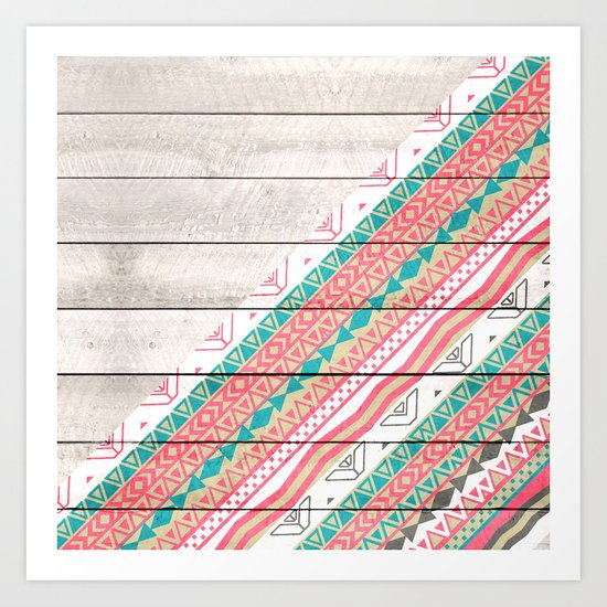 Andes Tribal Aztec Coral Teal Chevron Wood Pattern Art Print