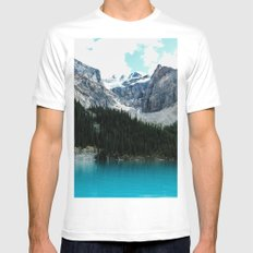 Moraine lake Wander (landscape) White Mens Fitted Tee MEDIUM