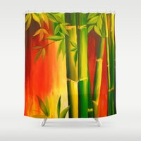 bamboo Shower Curtains featuring Bamboo by OLHADARCHUK