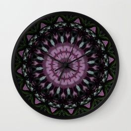 Rose And Jade Geometric Fantasy Mandala Pattern Wall Clock