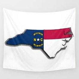 North Carolina Map with North Carolinian Flag Wall Tapestry