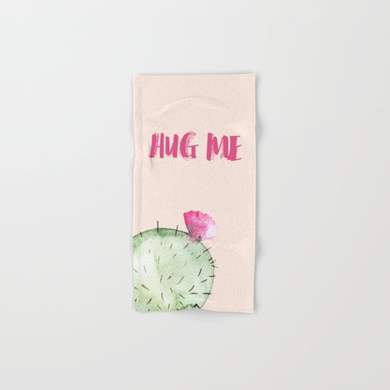 Hug me- Cactus and typography and watercolor Hand & Bath Towel