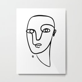 Face Abstract One Line Metal Print