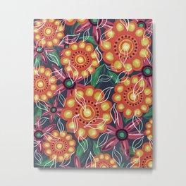 Retro Oil Flowers on Teal Green Metal Print