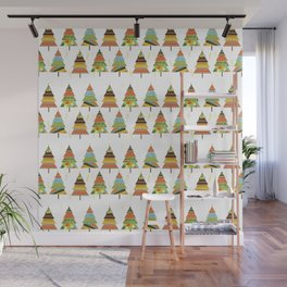 Abstract pine tree forest seamless pattern background Wall Mural