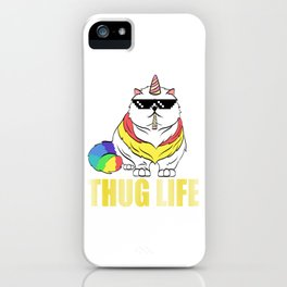 "A Cool Thug Life Tee For Gangster ""Unicorn Cat Thug Life"" T-shirt Design Smoking Eyeglasses GReens iPhone Case"
