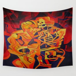 A Skeleton and Corpse Embracing Death Wall Tapestry