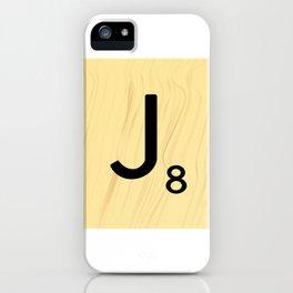 Scrabble J Decor, Scrabble Art, Large Scrabble Tile Initials iPhone Case