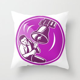 Businessman Ringing Liberty Bell Throw Pillow