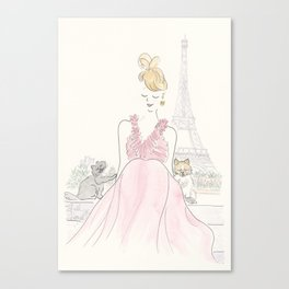 Eiffel Tower Paris with Red Dress, Pomeranian Pup and Cat Canvas Print