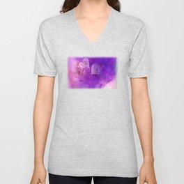 Spatters on my purple hearts Unisex V-Neck