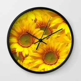 Yellow Mellow Sunflower Bouquet #decor #society6 #buyart Wall Clock