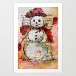 Snowman with Red Hat Art Print