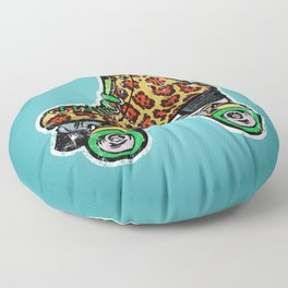 Cyan Leopard print roller skates Floor Pillow