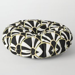 Black, White and Gold Classic Art Deco Fan Pattern Floor Pillow