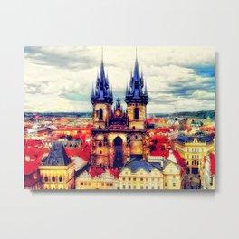 Prague Church Of Our Lady Before Tyn Watercolor Metal Print