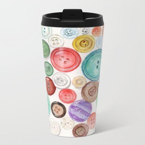 Buttons! Metal Travel Mug