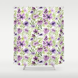 Watercolor/Ink Purple Floral Painting Shower Curtain